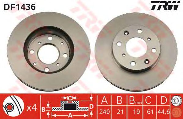 Диск тормозной HONDA (ХОНДА) Civic IV передний, вентелируемый (пр-во TRW) фото, цена