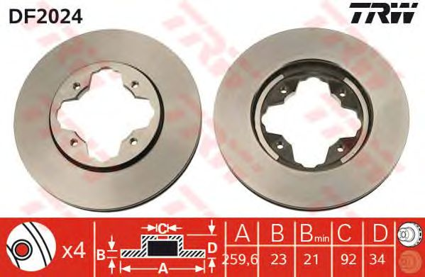 Диск тормозной HONDA (ХОНДА) передний, вентелируемый (пр-во TRW) фото, цена
