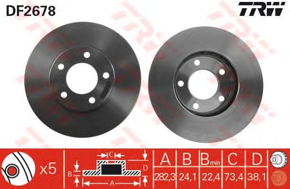 Диск тормозной CHRYSLER, DODGE, передний, вентелируемый (пр-во TRW) фото, цена