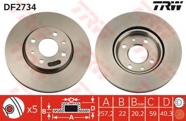 Диск тормозной FIAT (ФИАТ) Linea, Punto передний, вентелируемый (пр-во TRW) фото, цена