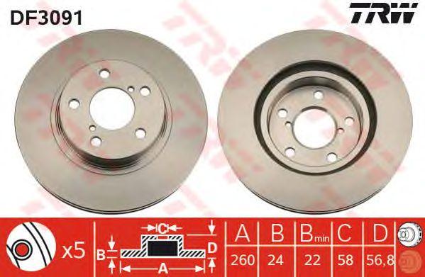 Диск тормозной SUBARU, передний, вентелируемый (пр-во TRW) фото, цена