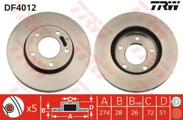 Диск тормозной MAZDA, передний, вентелируемый (пр-во TRW) фото, цена
