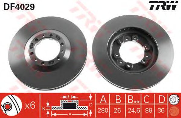 Диск тормозной OPEL (ОПЕЛЬ) Frontera передний, вентелируемый (пр-во TRW) фото, цена