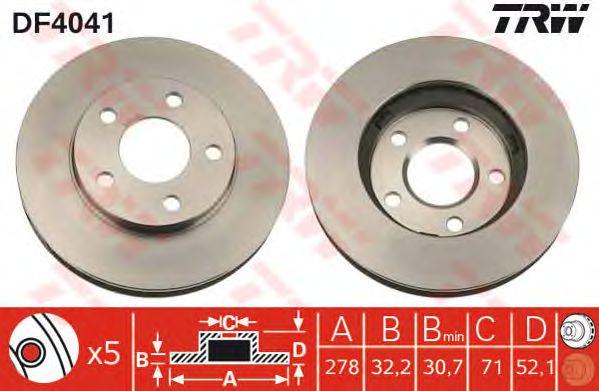 Диск тормозной OPEL (ОПЕЛЬ) Sintra передний, вентелируемый (пр-во TRW) фото, цена