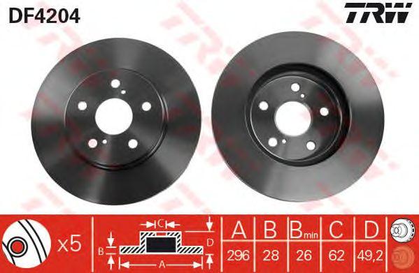 Диск тормозной TOYOTA (ТОЙОТА) Camry передний, вентелируемый (пр-во TRW) фото, цена