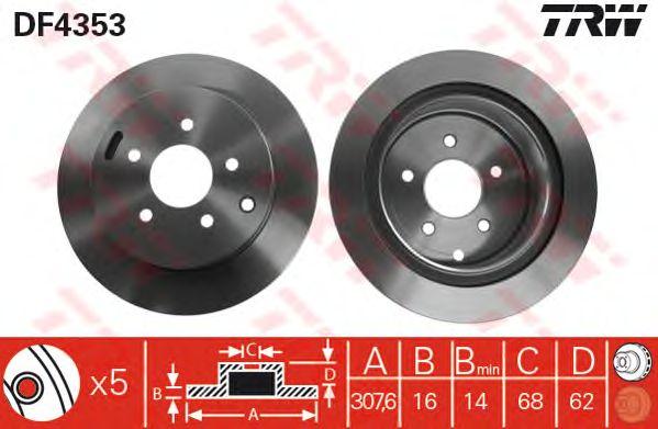 Диск тормозной NISSAN (НИССАН) Murrano задний , вентелируемый (пр-во TRW) фото, цена