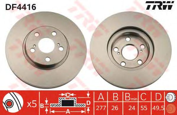 Диск тормозной TOYOTA (ТОЙОТА) Avensis передний, вентелируемый (пр-во TRW) фото, цена