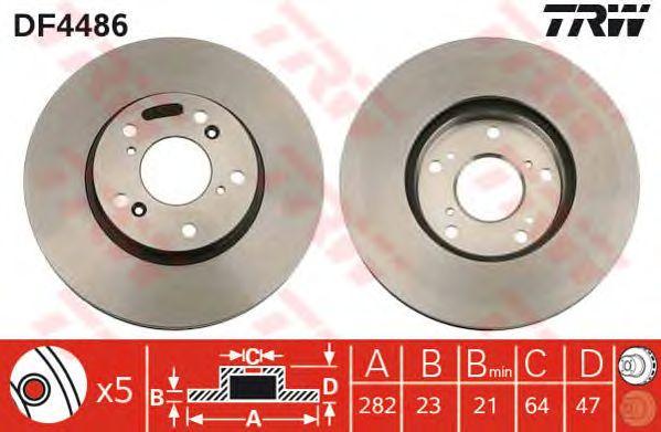 Диск тормозной HONDA (ХОНДА) Civic передний, вентелируемый (пр-во TRW) фото, цена