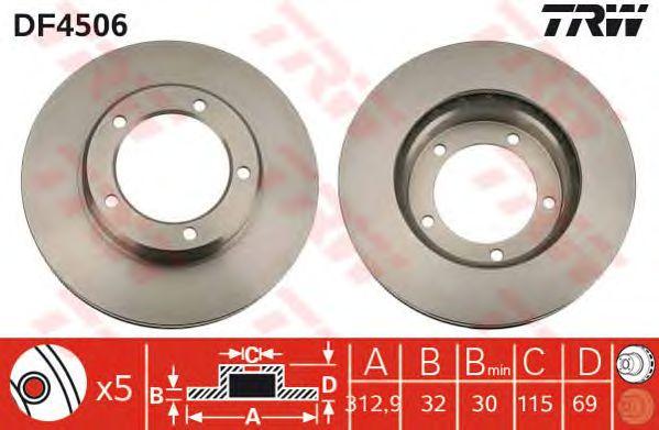 Диск тормозной TOYOTA, передний, вентелируемый (пр-во TRW) фото, цена