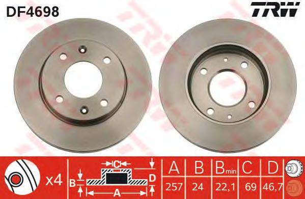 Диск тормозной KIA (КИА) Cerato передний, вентилируемый (пр-во TRW) фото, цена