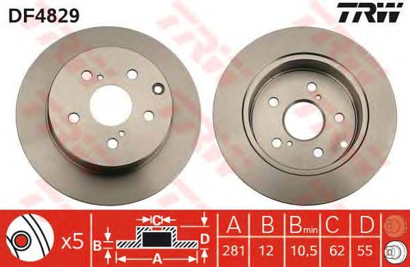 Диск тормозной TOYOTA (ТОЙОТА) RAV 4 задний (пр-во TRW) фото, цена