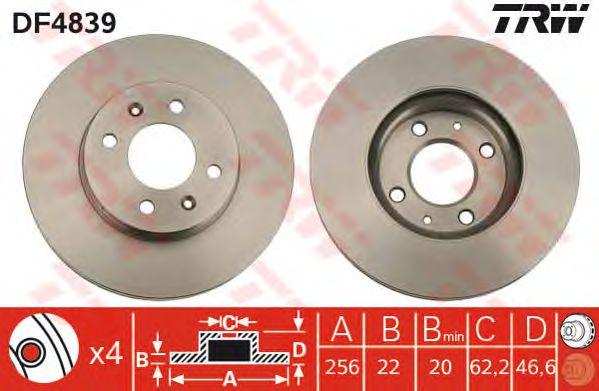 Диск тормозной HYUNDAI (ХЮНДАЙ) Accent передний, вентелируемый (пр-во TRW) фото, цена