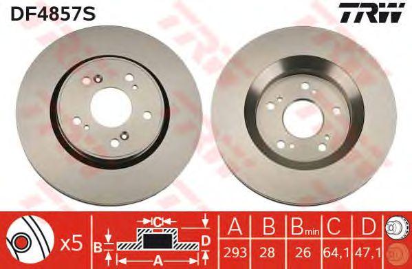 Диск тормозной HONDA (ХОНДА) CR-V III передний, вентелируемый (пр-во TRW) фото, цена