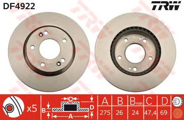 Диск тормозной HYUNDAI (ХЮНДАЙ) Elantra передний, вентилируемый (пр-во TRW) фото, цена