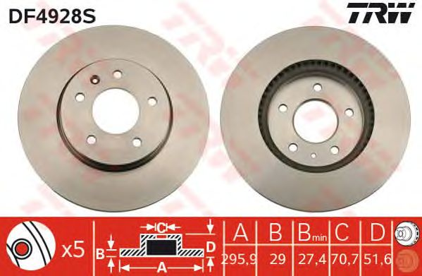 Диск тормозной CHEVROLET (ШЕВРОЛЕ) Captiva передний, вент. (пр-во TRW) фото, цена