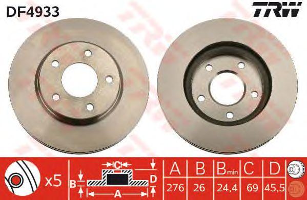 Диск тормозной MITSUBISHI (МИЦУБИСИ) Lancer передний, вентелируемый (пр-во TRW) фото, цена