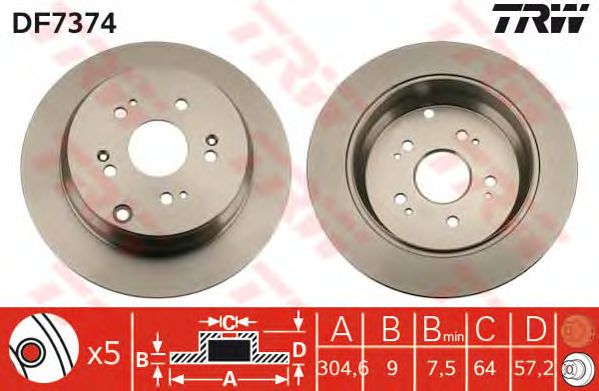 Диск тормозной HONDA (ХОНДА) CR-V задний (пр-во TRW) фото, цена