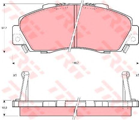 Колодки тормозные передние HONDA (ХОНДА) Civic, CR-V (пр-во TRW) фото, цена