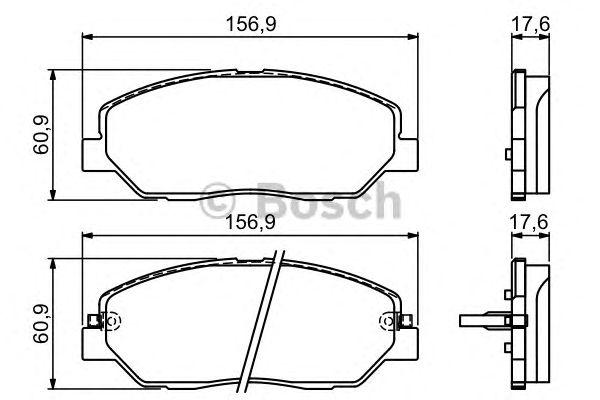 Колодки тормозные HYUNDAI (ХЮНДАЙ) SANTA FE, передн. (пр-во Bosch) фото, цена