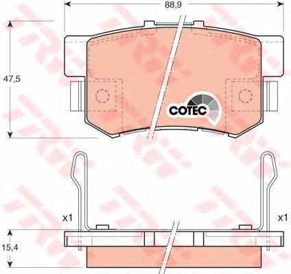 Колодки тормозные задние HONDA (ХОНДА) Accord (пр-во TRW) фото, цена