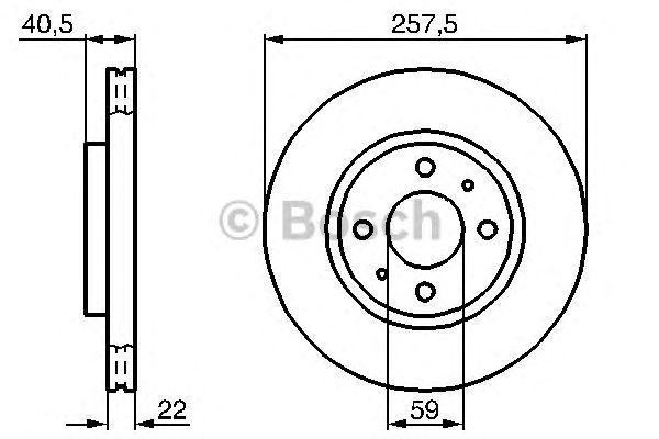 Диск тормозной FIAT (ФИАТ) LINEA, PUNTO передн., вент. (пр-во Bosch) фото, цена