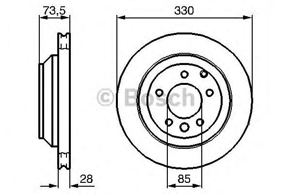 Диск тормозной VOLKSWAGEN (ФОЛЬЦВАГЕН) TOUAREG, вент. (пр-во Bosch) фото, цена