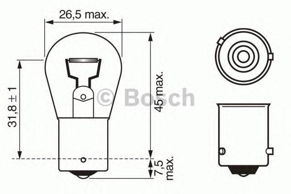 Лампа фарная (12V 21W PY21W) (BOSCH) фото, цена