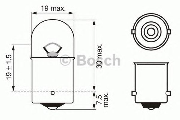 Лампа внутреннего освещения R10W 12V (пр-во BOSCH) фото, цена