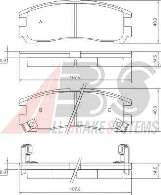 Колодки тормозные OPEL (ОПЕЛЬ) SINTRA задние (пр-во ABS) фото, цена