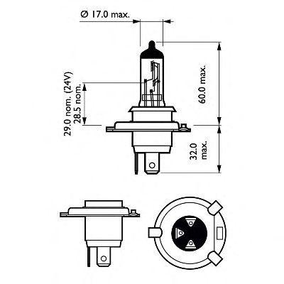 Лампа накаливания H412V60/55WP43t-38 (пр-во Philips) фото, цена