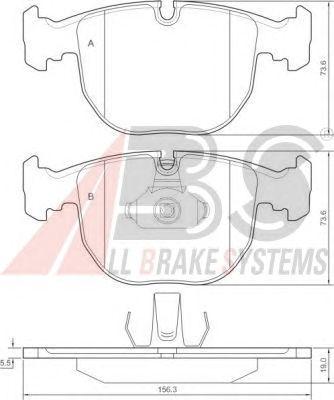 Колодки тормозные передние BMW (БМВ) 5 series/7 series/X5 (пр-во ABS) фото, цена