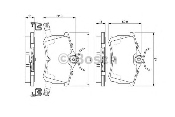 Колодки тормозные HONDA (ХОНДА) ACCORD задн. (пр-во Bosch) фото, цена
