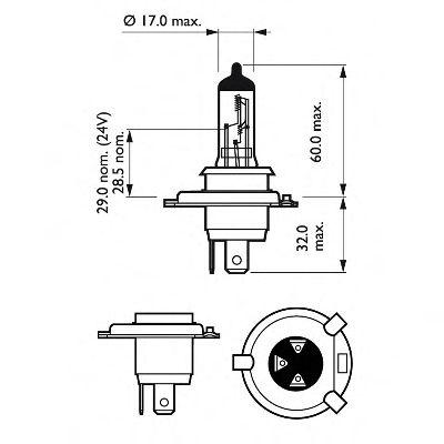 Лампа накаливания H4VisionPlus12V 60/55W P43t-38(пр-во Philips) фото, цена