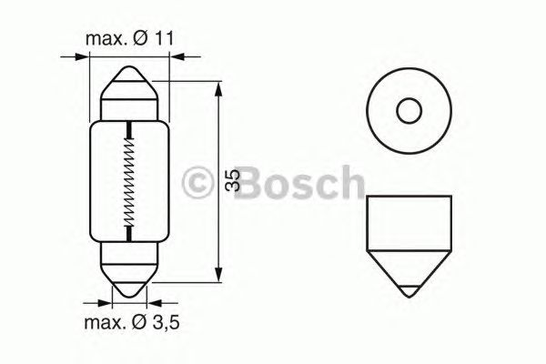 Лампа накаливания 12V 5W C5W PURE LIGHT (пр-во BOSCH) фото, цена