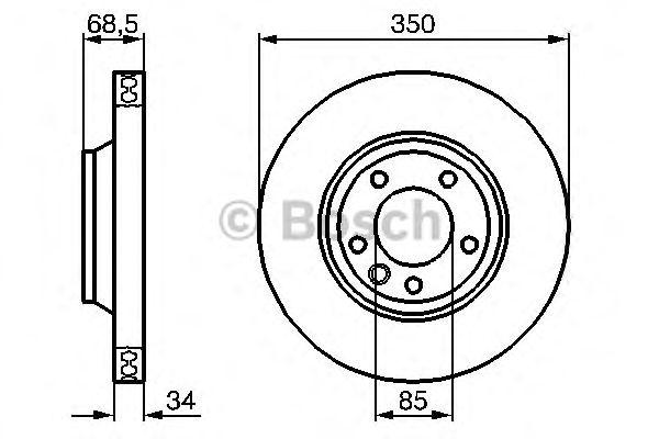 Диск тормозной AUDI (АУДИ) Q7, VOLKSWAGEN (ФОЛЬЦВАГЕН) TOUAREG передн., вент. (пр-во Bosch) фото, цена
