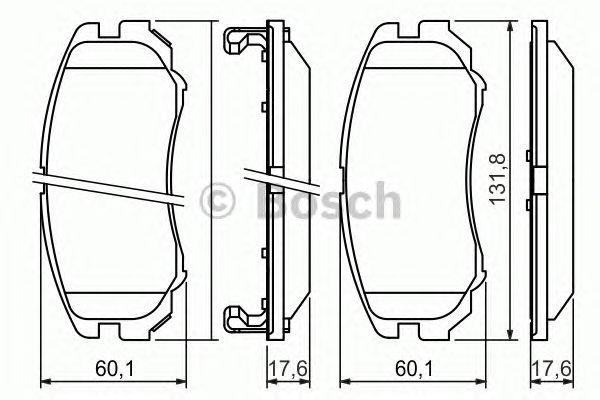Колодки тормозные HYUNDAI (ХЮНДАЙ) SONATA, TUCSON, KIA (КИА) SOUL передн. (пр-во Bosch) фото, цена