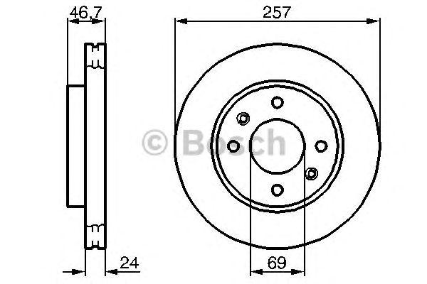 Диск тормозной KIA (КИА) CERATO передн., вент. (пр-во Bosch) фото, цена